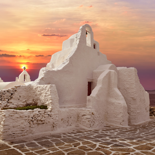 """A 14th century Paraportiani Church on the island of Mykonos, Greece."" stock image"