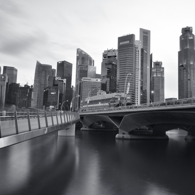 """""""Modern city, business and financial district of Singapore in black and white."""" stock image"""