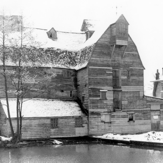 """""""Newark Mill, Ripley, Surrey (destroyed by fire in 1966)"""" stock image"""