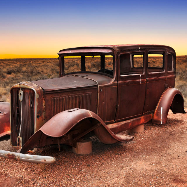 """Route 66 vintage car relic displayed near the north entrance of Petrified Forest National Park in Arizona, USA"" stock image"
