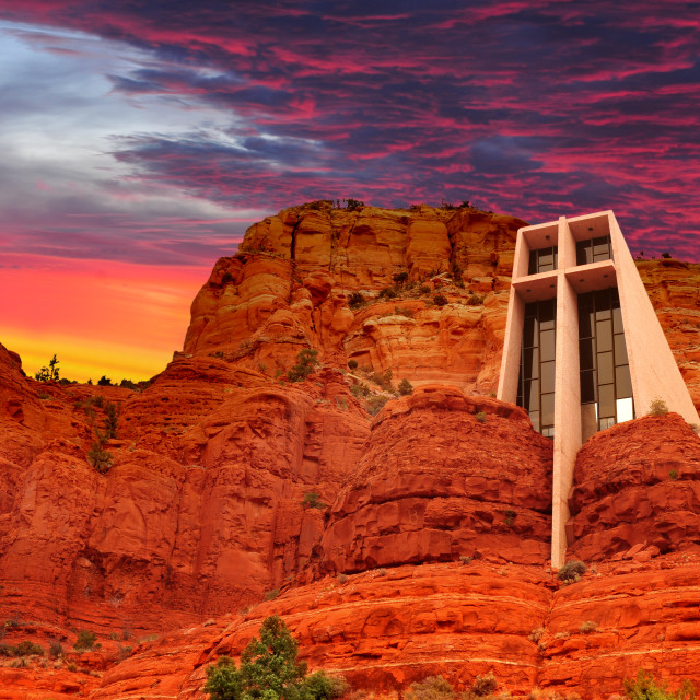 """The Chapel of the Holy Cross in Sedona, Arizona, U.S.A."" stock image"