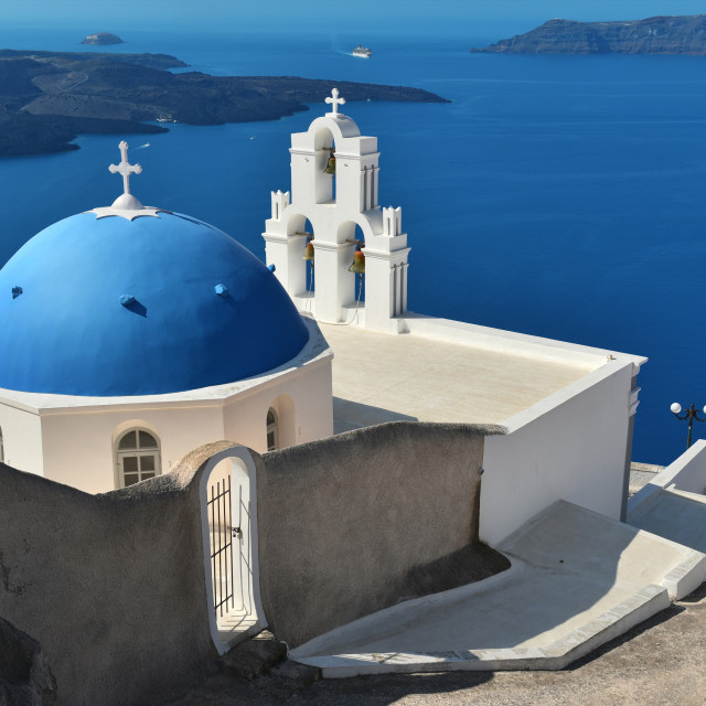 """Agios Theodori Church (Saint Theodore) in Firostefani, Santorini, Greece."" stock image"