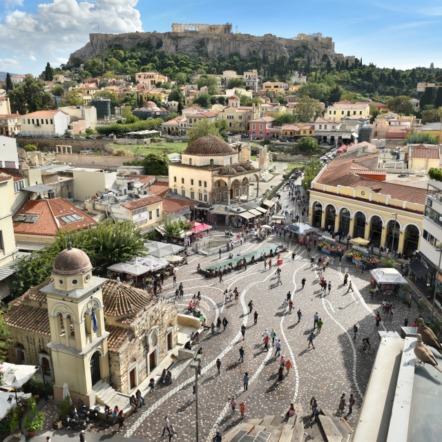"""Aerial view of Monastiraki square on Ermou Street, Athens, Greece"" stock image"