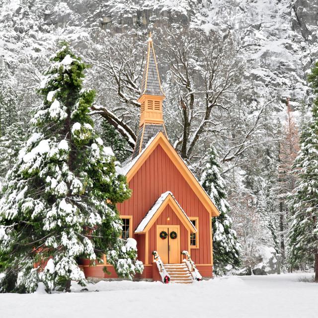 """Yosemite Chapel during winter in Yosemite National Park, California, U.S.A."" stock image"