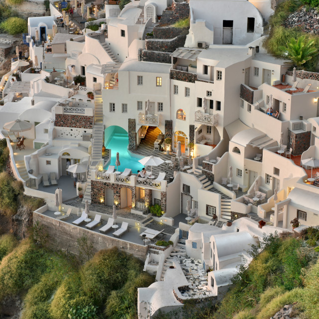 """""""Cave houses and hotels in Oia Village, Santorini, Greece"""" stock image"""