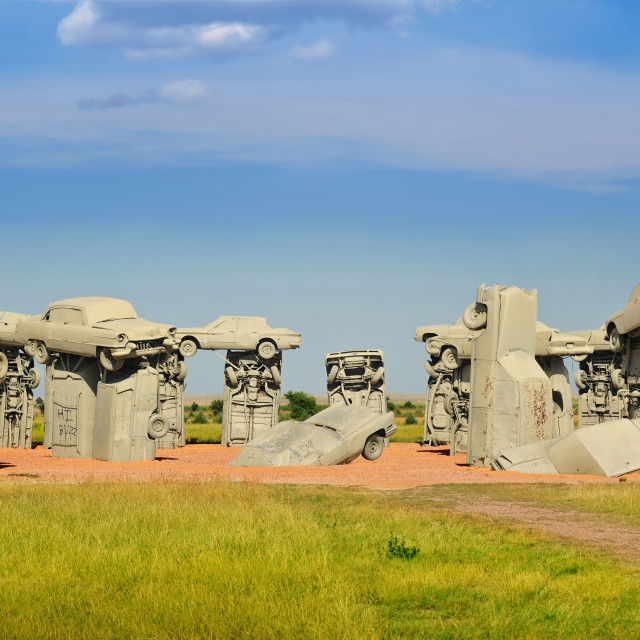 """Carhenge in Alliance, Nebraska, U.S.A."" stock image"