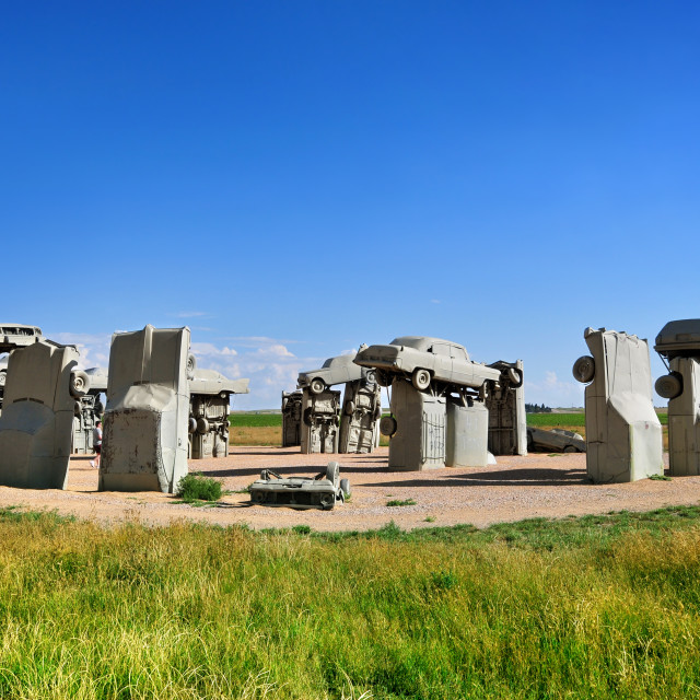 """Carhenge in Alliance, Nebraska, U.S.A."" stock image"