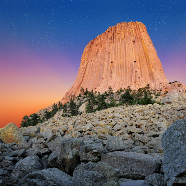 """Devil's Tower National Monument in Wyoming, U.S.A."" stock image"