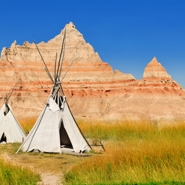"""""""Wigwams at a scenic view in Badlands National Park, South Dakota, USA"""" stock image"""