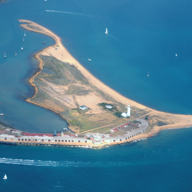 """""""Hurst Castle from the air"""" stock image"""