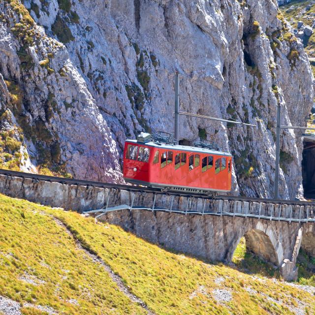 """Mount Pilatus ascent on worlds steepest cogwheel railway"" stock image"