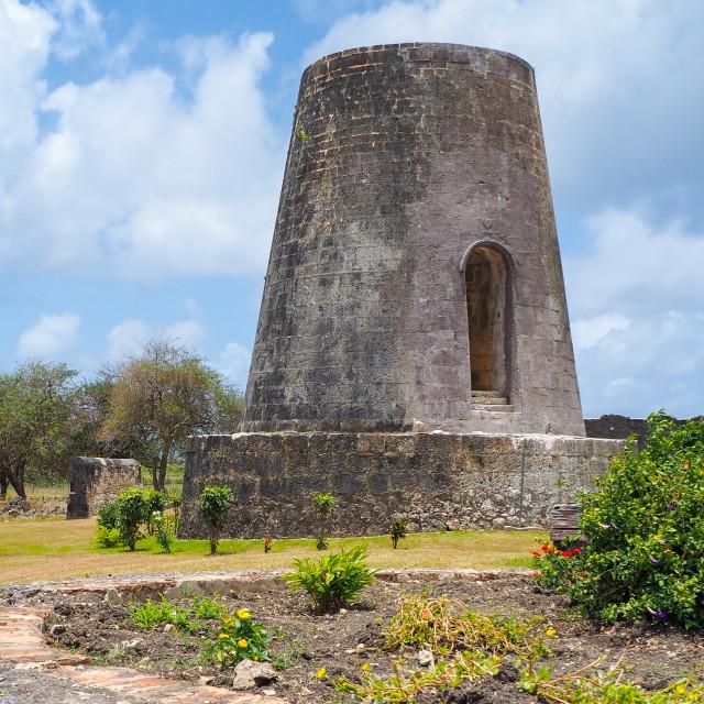 """Mill ruins of Trianon plantation, Marie Galante"" stock image"