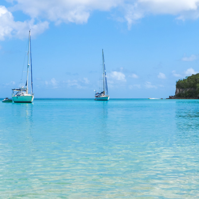 """""""Yachts moored in Marie Galante"""" stock image"""