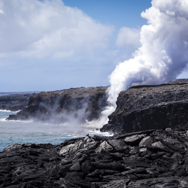 """""""Lava from Kilauea pouring to the ocean"""" stock image"""
