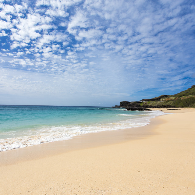 """Sandy beach, O'ahu"" stock image"