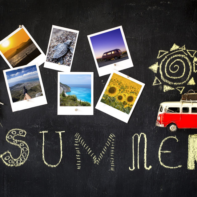 """""""Summer theme blackboard with retro frames with photographers selected summer..."""" stock image"""