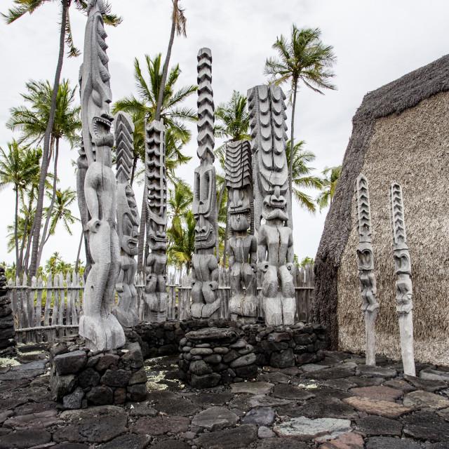 """Tiki of Puuhonua o honaunau, Hawaii"" stock image"