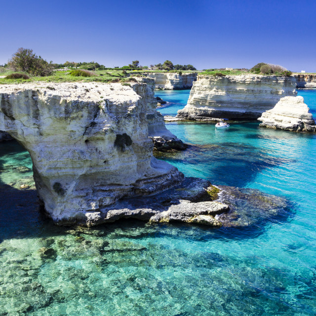 """Turquoise waters of Sant Andrea Salento, Italy"" stock image"