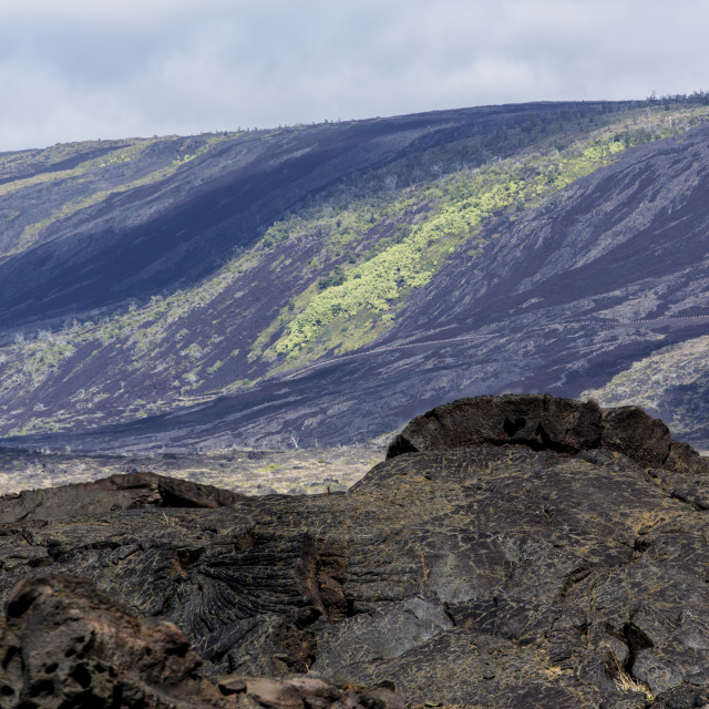 """""""Volcanic landscape at the hills of Kilauea"""" stock image"""