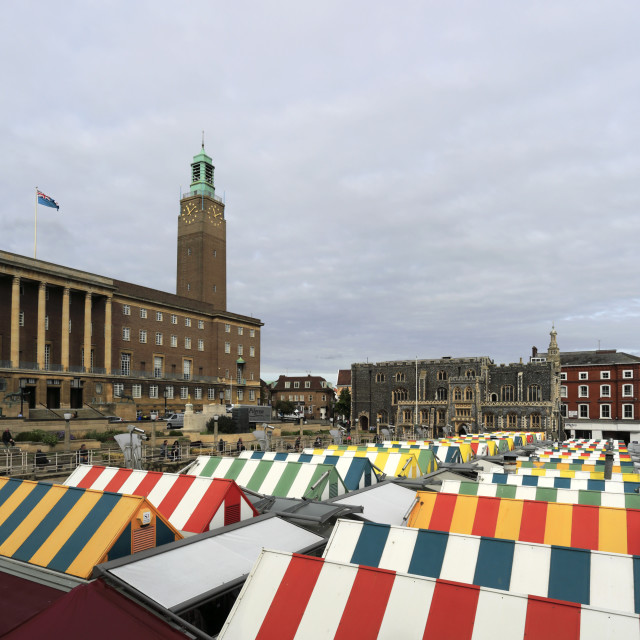 """""""The Market Place and Market Stalls, Norwich City, Norfolk, England, UK"""" stock image"""