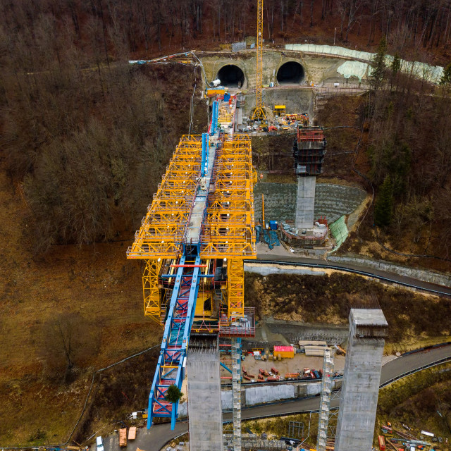 """Aerial of a complex new railway bridge construction between two tunnels"" stock image"
