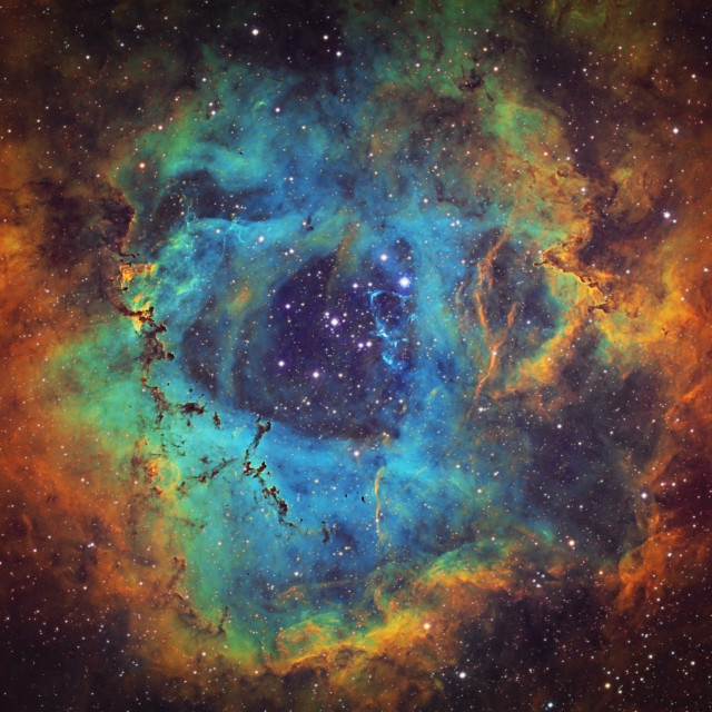 """The Rosette Nebula (NGC 2237, Caldwell 49) in the constellation of Monoceros, HST image"" stock image"