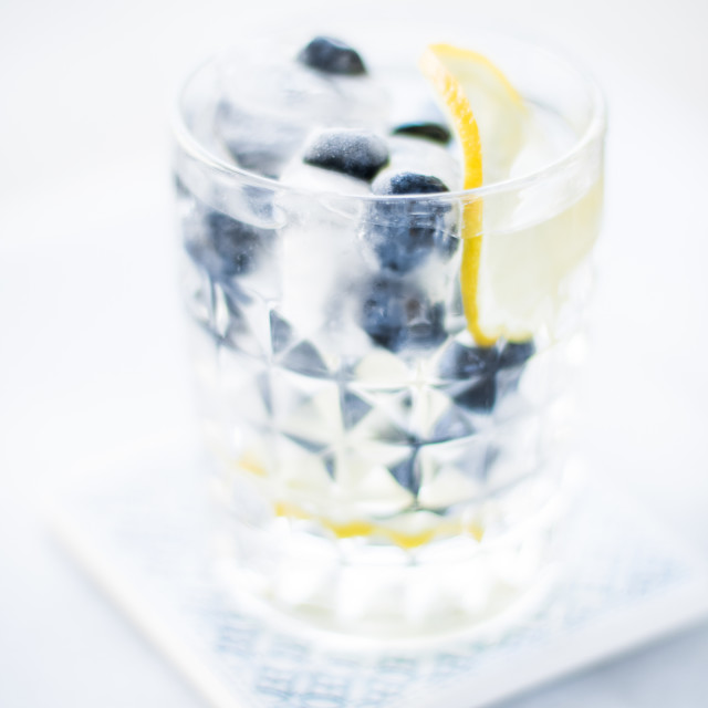 """cocktail with blueberry ice and lemon - drinks, cocktails and celebration..."" stock image"