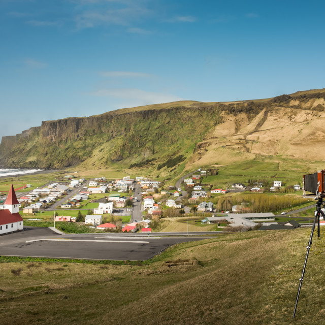 """Photographing Iceland in the old way"" stock image"