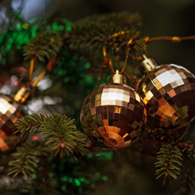 """""""Three Baubles On A Christmas Tree"""" stock image"""
