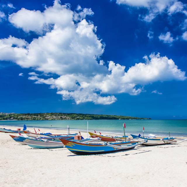 """Traditional Bali fishing boats"" stock image"