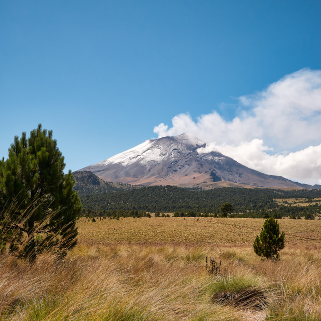 """Fumarole comes out of snowy Popocatepetl volcano"" stock image"