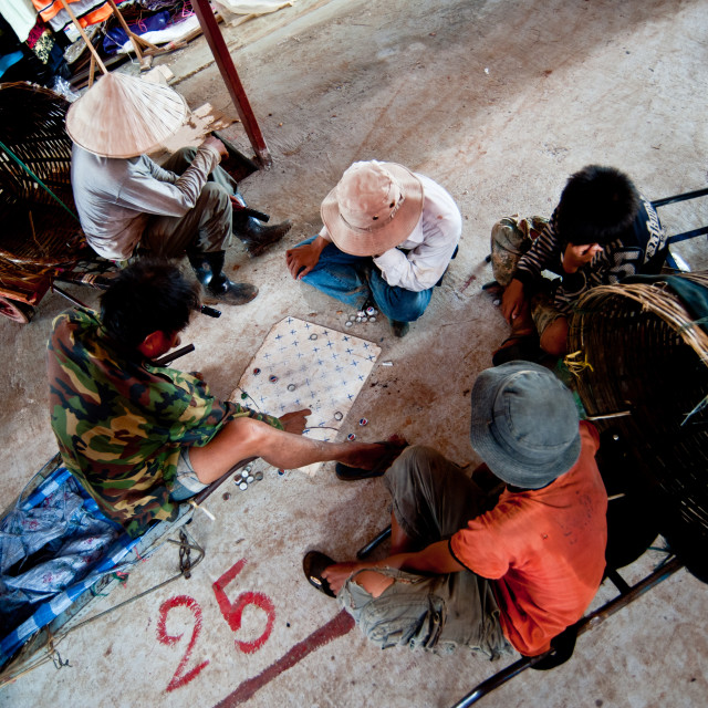 """""""PAKSE, LAOS - AUGUST 12 : View of a market in Pakse city is the"""" stock image"""