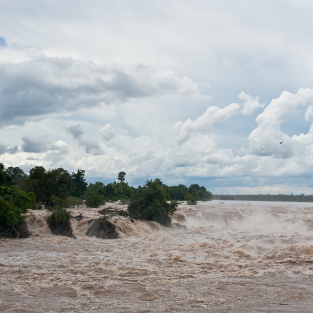 """Khone Phapheng water fall or mekong river in champasak southern"" stock image"