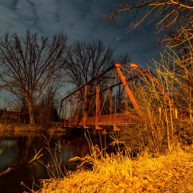 """Chinworth Bridge at Night"" stock image"