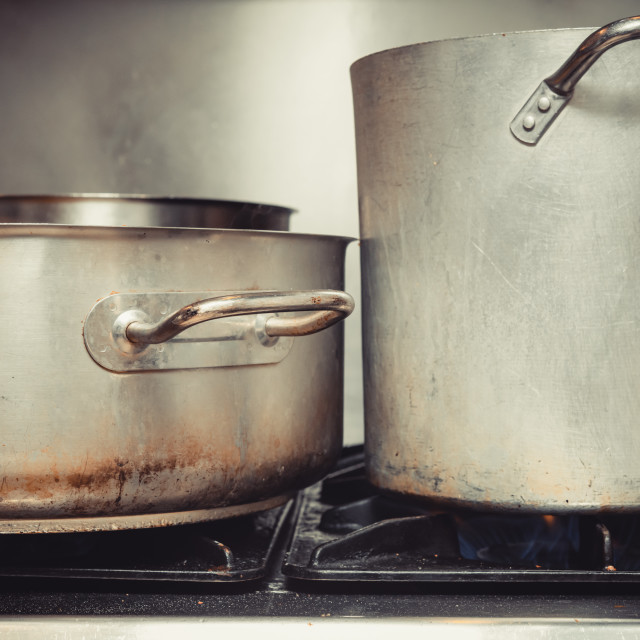 """""""Close up on big pot and saucepan in kitchen"""" stock image"""