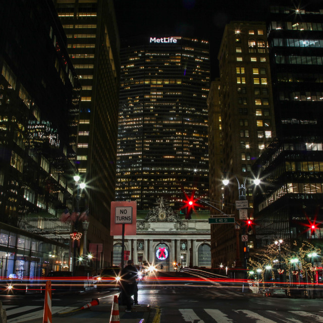 """""""Beautiful evenings with street and buildings near Grand Central"""" stock image"""