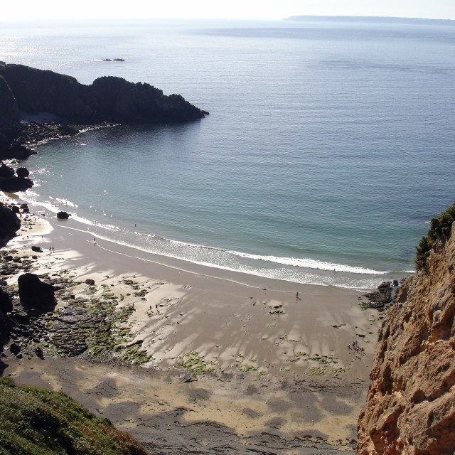 """""""View over Sark beach, Channel Islands, with Guernsey in the background"""" stock image"""