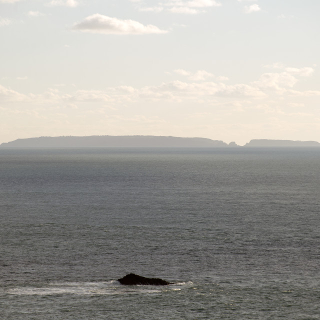 """""""Channel Island of Sark, seen from neighbouring Alderney"""" stock image"""