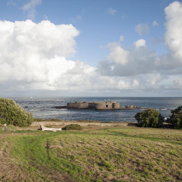 """Fort Houmet Herbé on Channel Island of Alderney"" stock image"