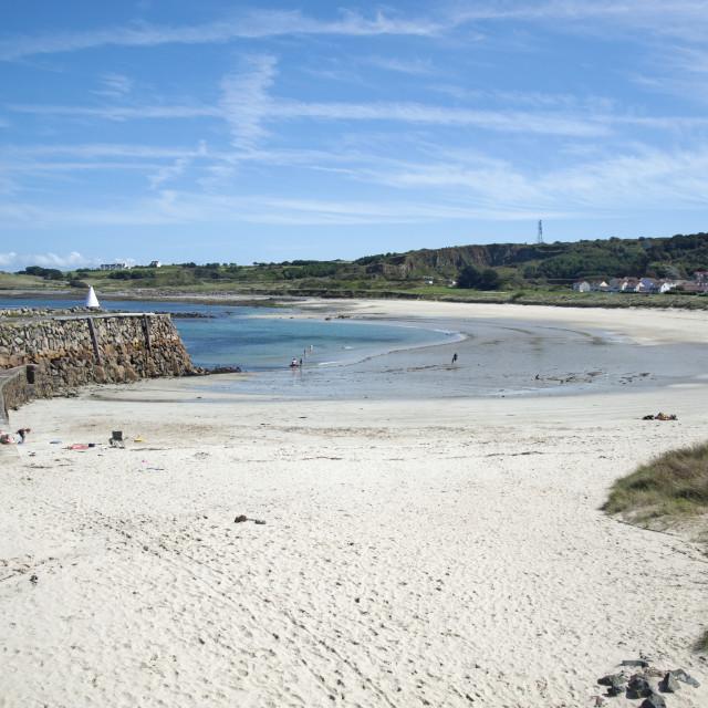 """Braye beach on Channel Island of Alderney"" stock image"