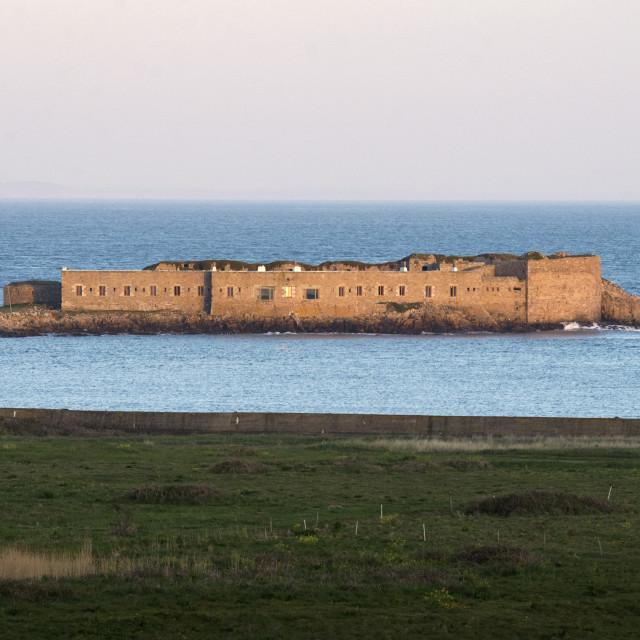 """Fort Île de Raz off Channel Island of Alderney"" stock image"