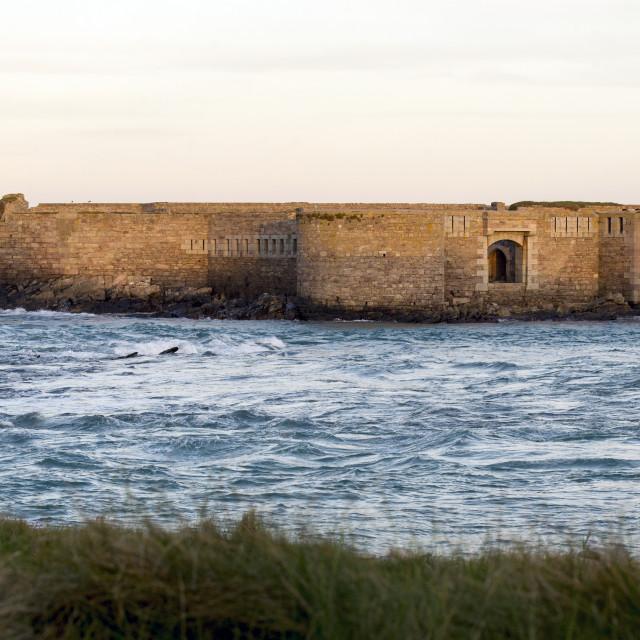 """Fort Houmet Herbé off the Channel Island of Alderney"" stock image"