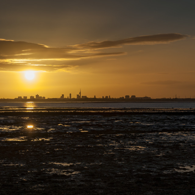 """""""Portsmouth at sunset, seen from Hayling Island"""" stock image"""