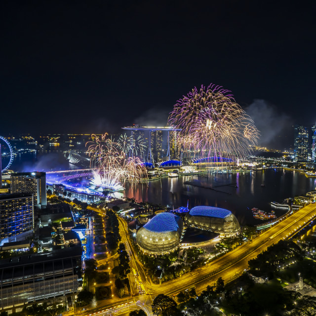 """New Year Eve Fireworks Show at Singapore Marina Bay skyline"" stock image"