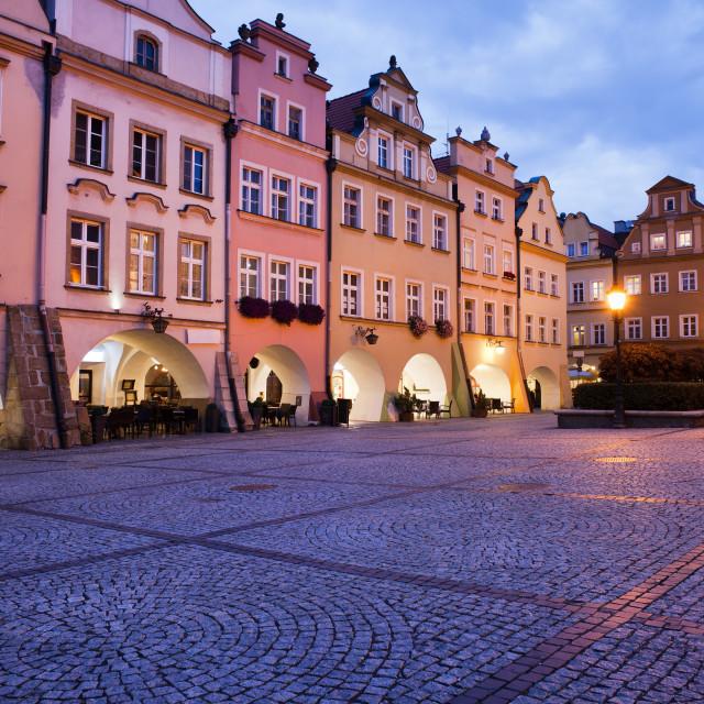 """Jelenia Gora Old Town Square at Dusk in Poland"" stock image"