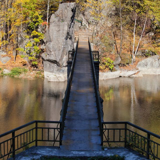 """Bridge on Modre Lake in Poland"" stock image"