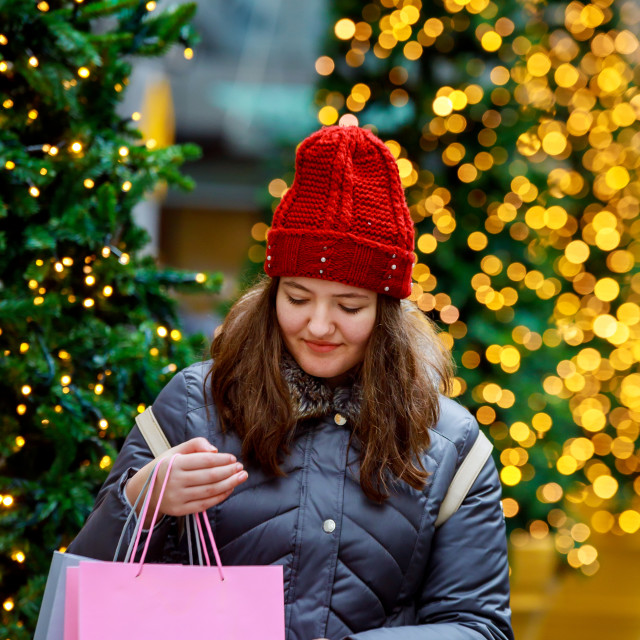 """""""sale, happy young girl with shopping bags walking along city street, colorful..."""" stock image"""
