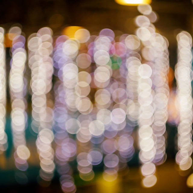 """""""Blurred bokeh background with warm colorful lights"""" stock image"""