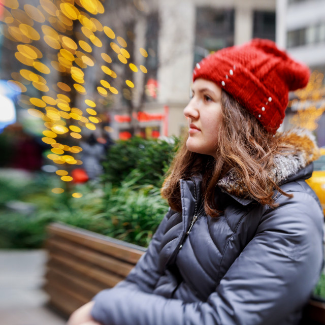 """""""beautiful red head young teenager in the city outdoors abstract blur light"""" stock image"""