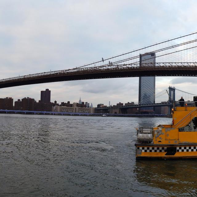 """Manhattan skyscrapers and Brooklyn bridge in New York City, USA."" stock image"